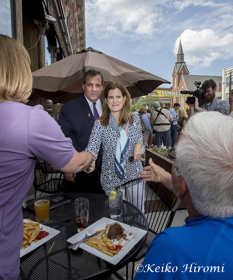 July 2, 2015 Nashua, NH USA:  New Jersey Governor and Presidential candidate Chris Christie campaigning with his wife Mary Pat Foster at Martha's Exchange in Nashua, NH USA.