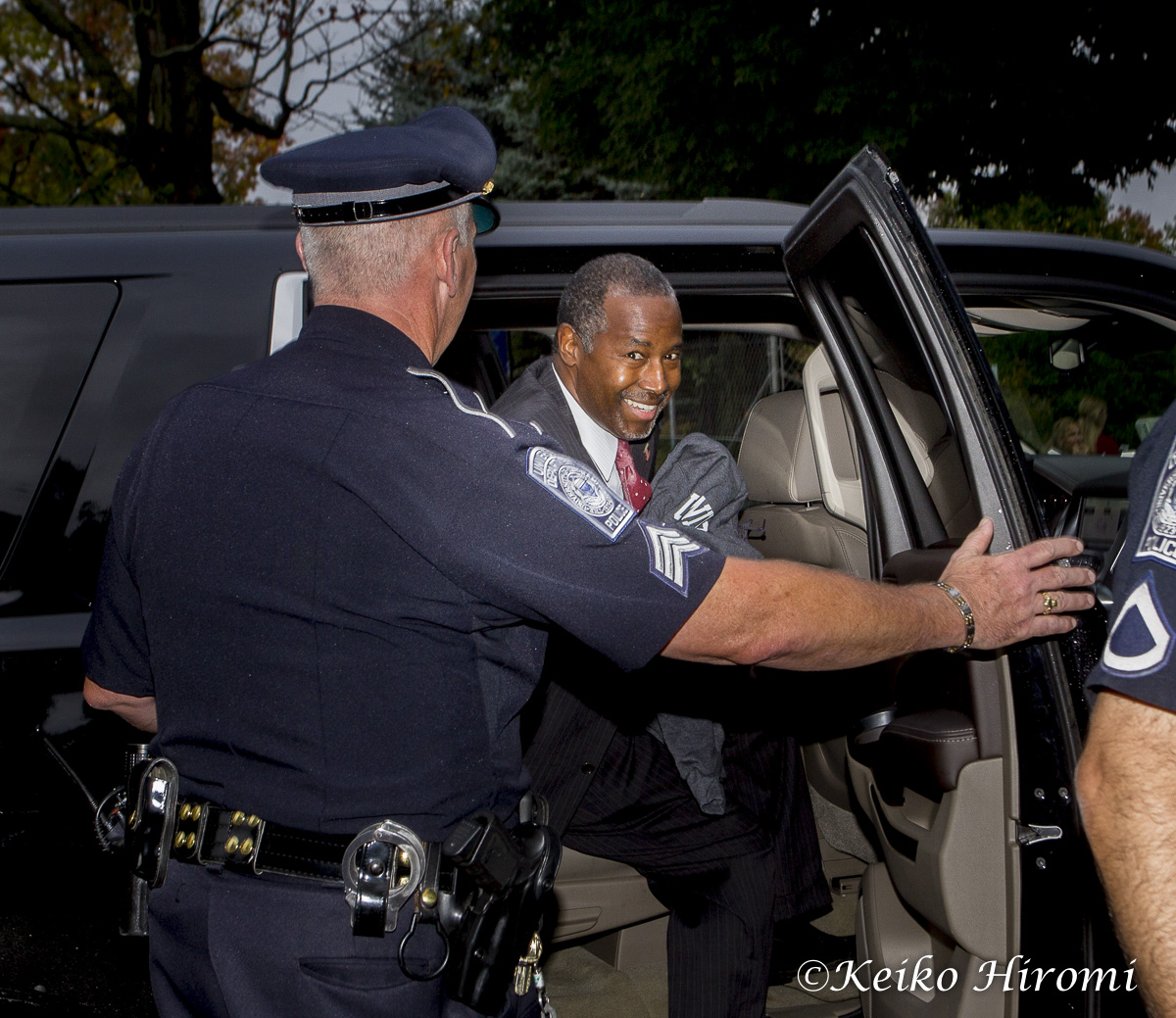 September 30, 2015 - Durham,  New Hampshire, United States: Republican Presidential candidate Dr. Ben Carson leaving after  campaigning during a town hall meeting at University of New Hampshire in Durham, New Hampshire.
