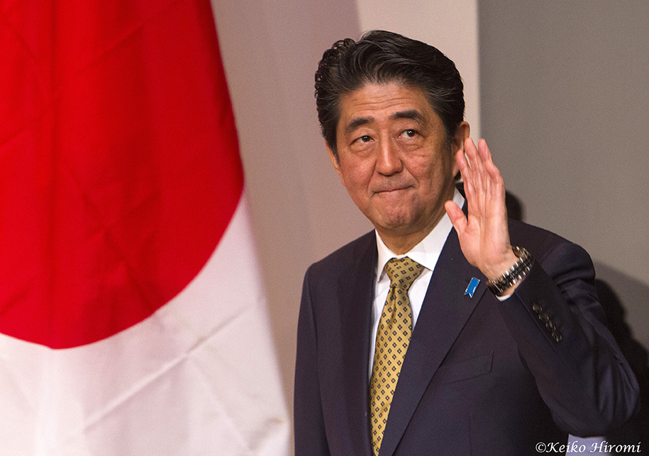 Japanese Prime Minister Shinzo Abe in Boston, Massachusetts.