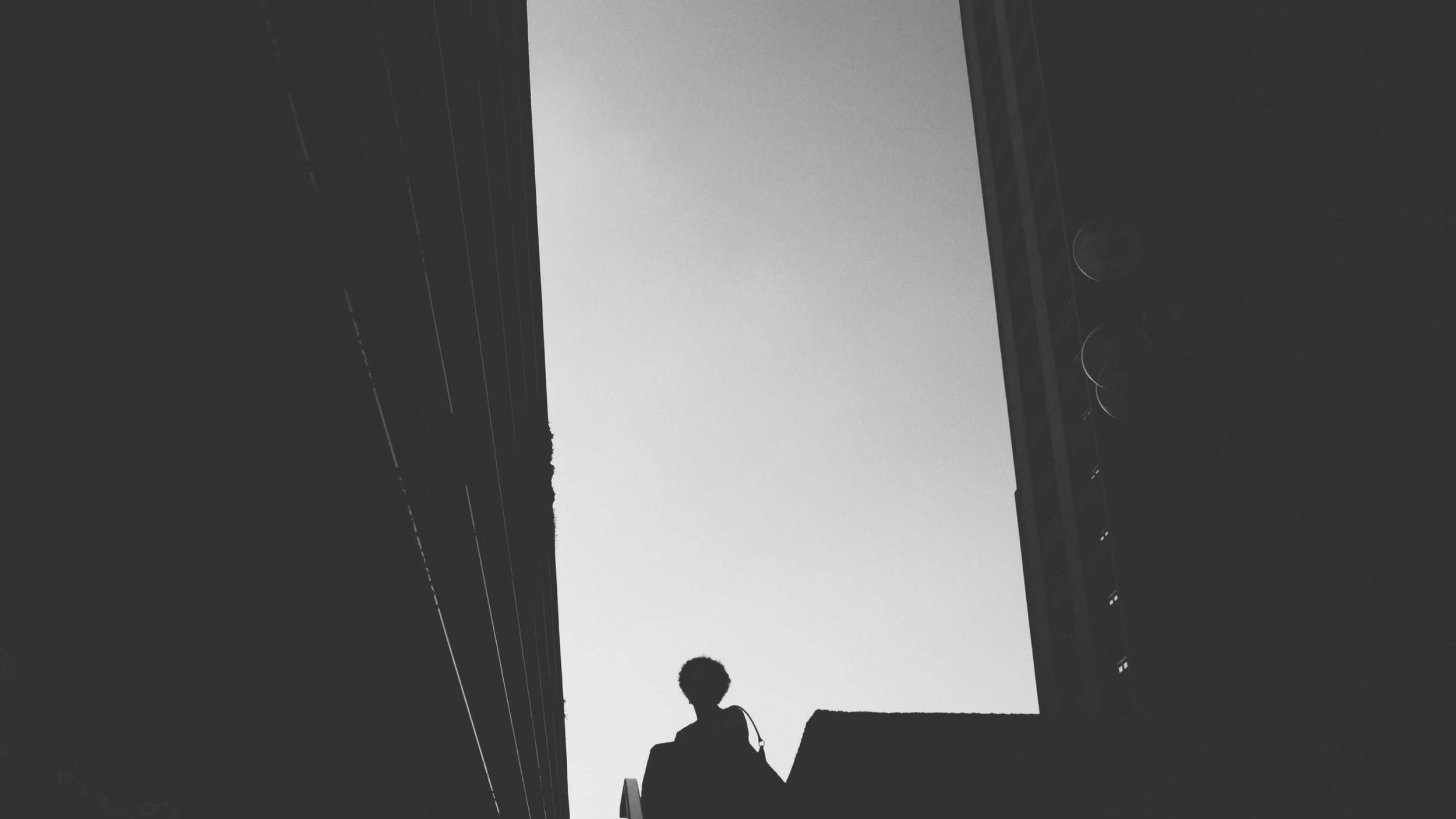 Silhouette caught between towers