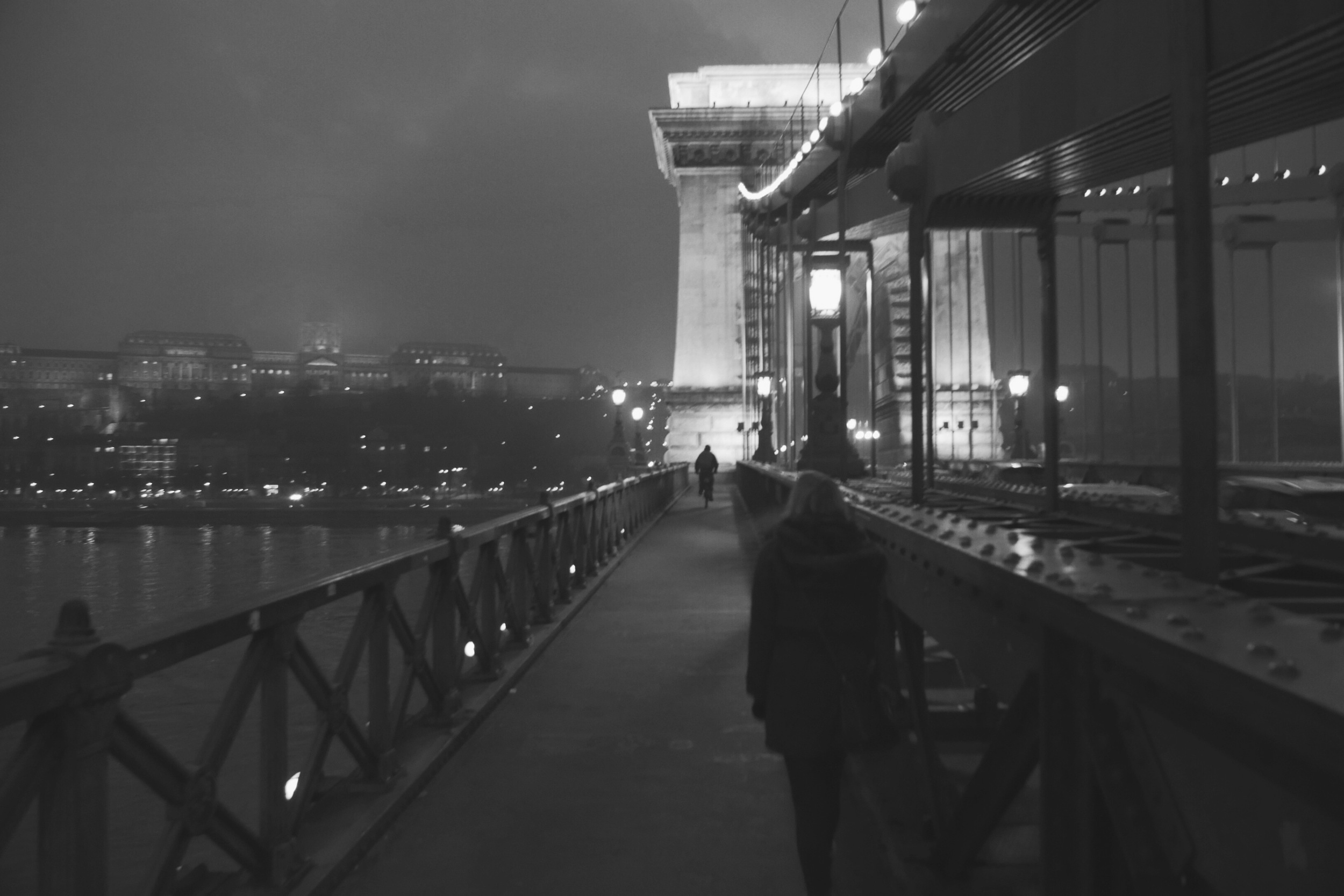 Crossing a bridge to fancy Buda town