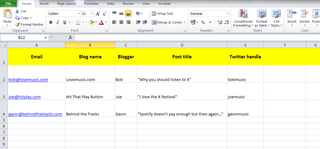 Building up the correct database to promote your music through email marketing. Click on the photo to enlarge it.