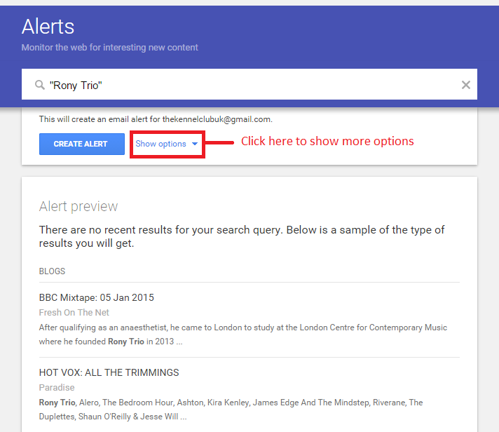 """Click the """"Show options"""" to make sure you set up your alert correctly"""