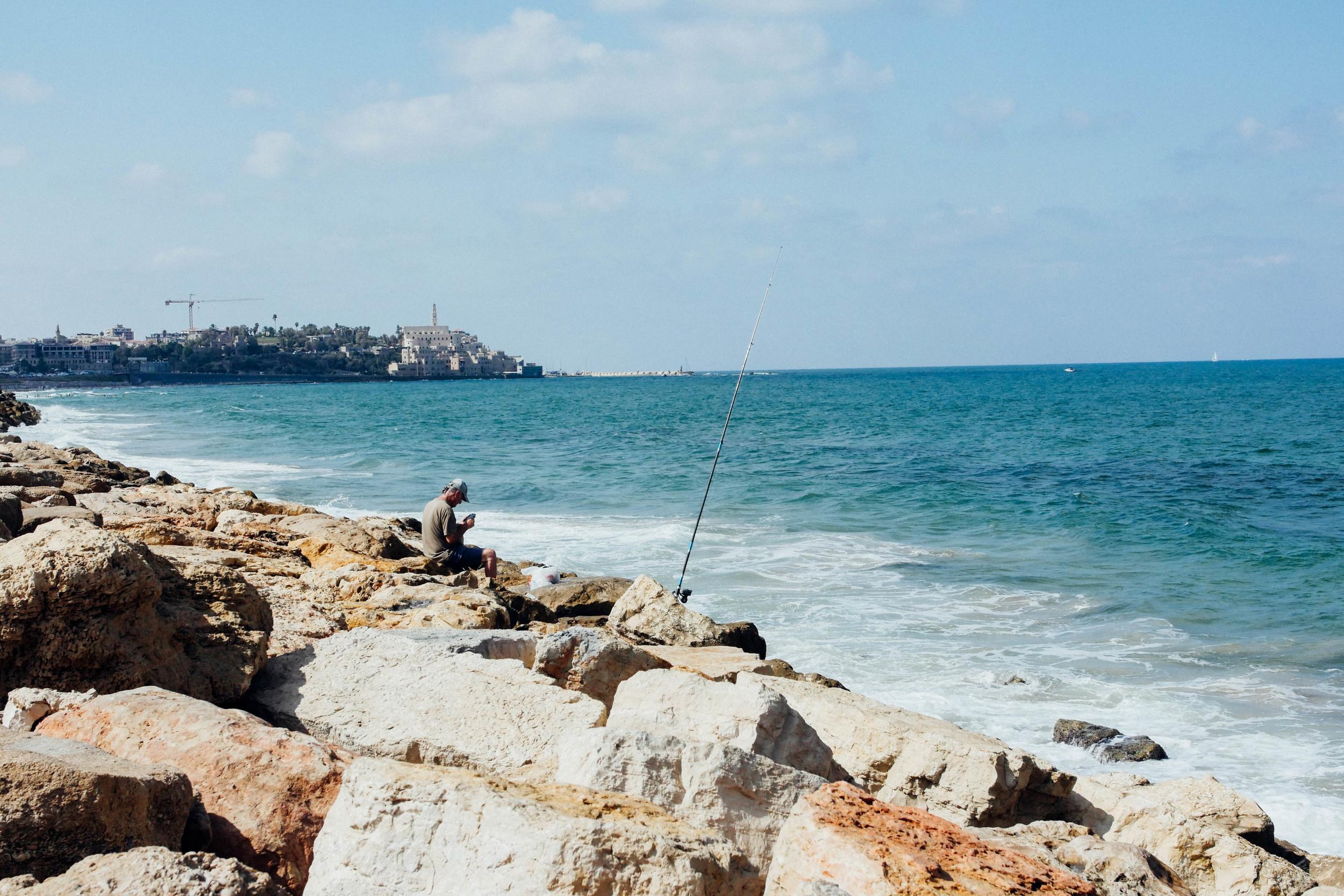 Fishing on the Tel Aviv Promenade