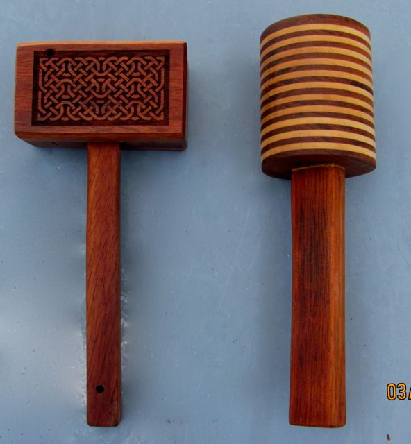 Carving mallets made from scrap Jatoba and Maple wood.