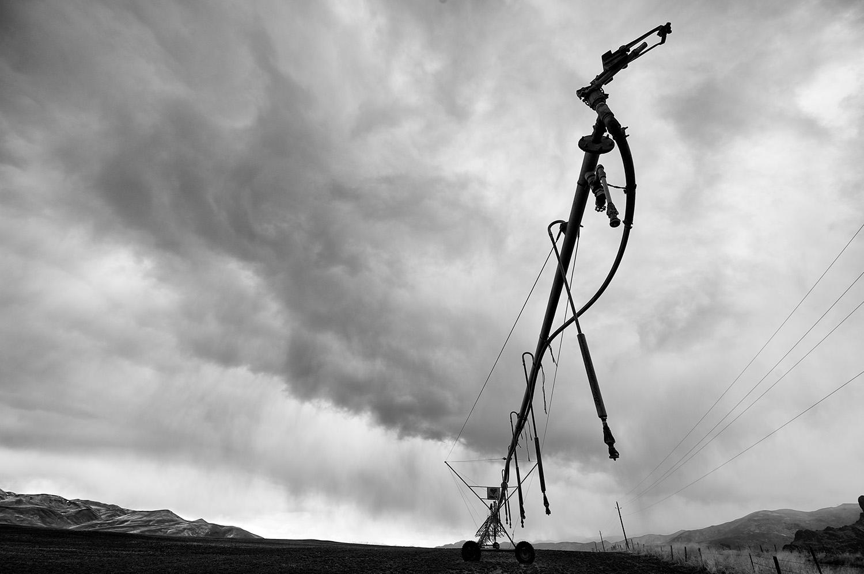 Center Pivot, Power Lines & Spring Thunder Head. Picabo Hills, Idaho