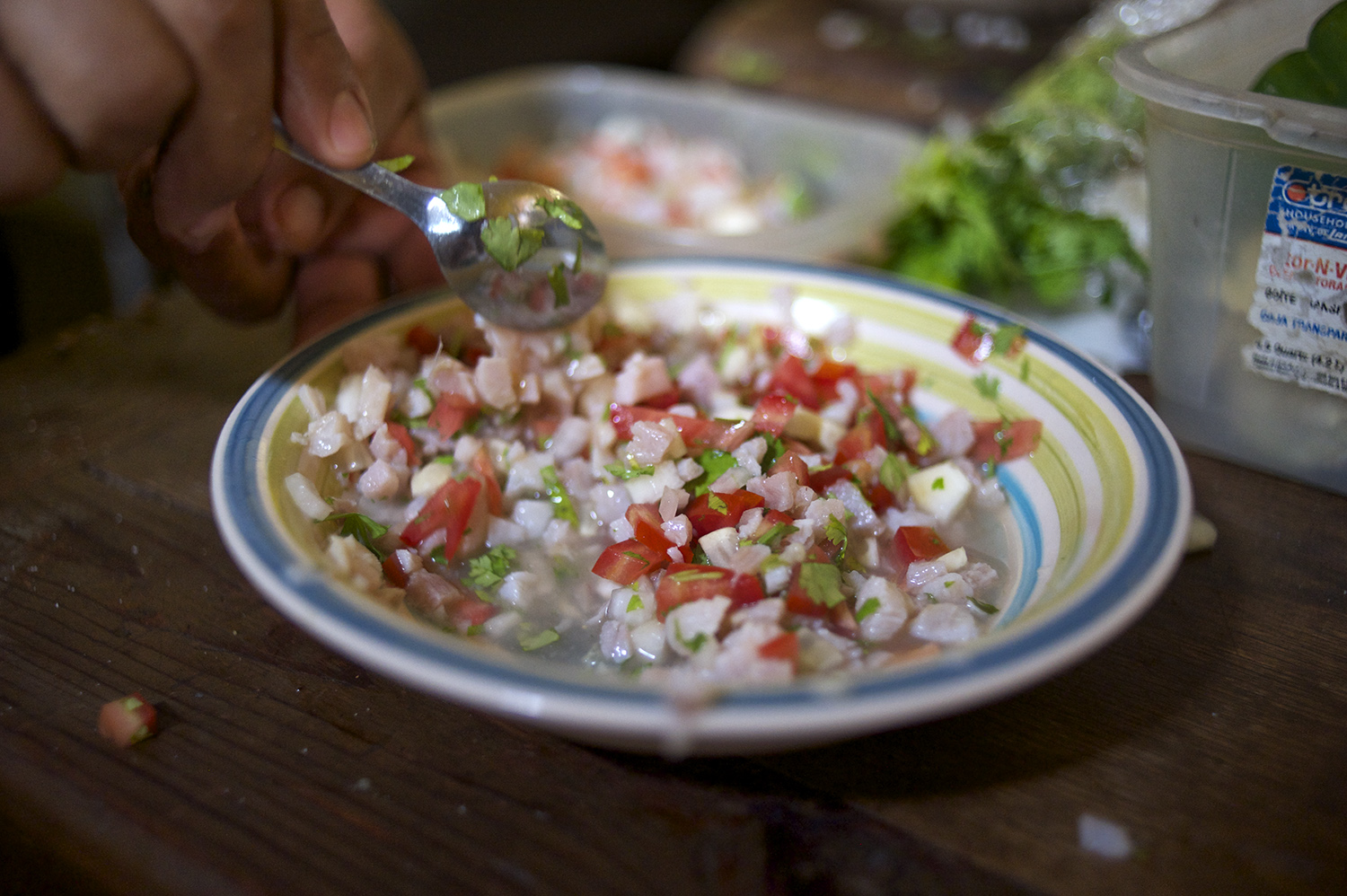 Fresh shrimp ceviche.