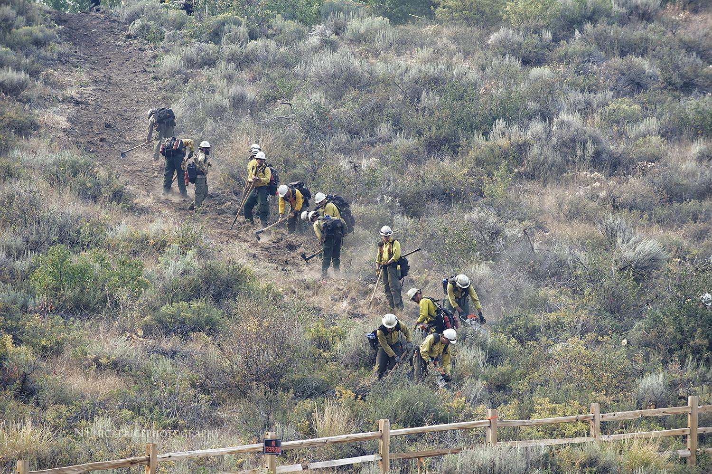 A Hot Shot crew clears a fire break near Baldy (Sun Valley, Idaho ski area).