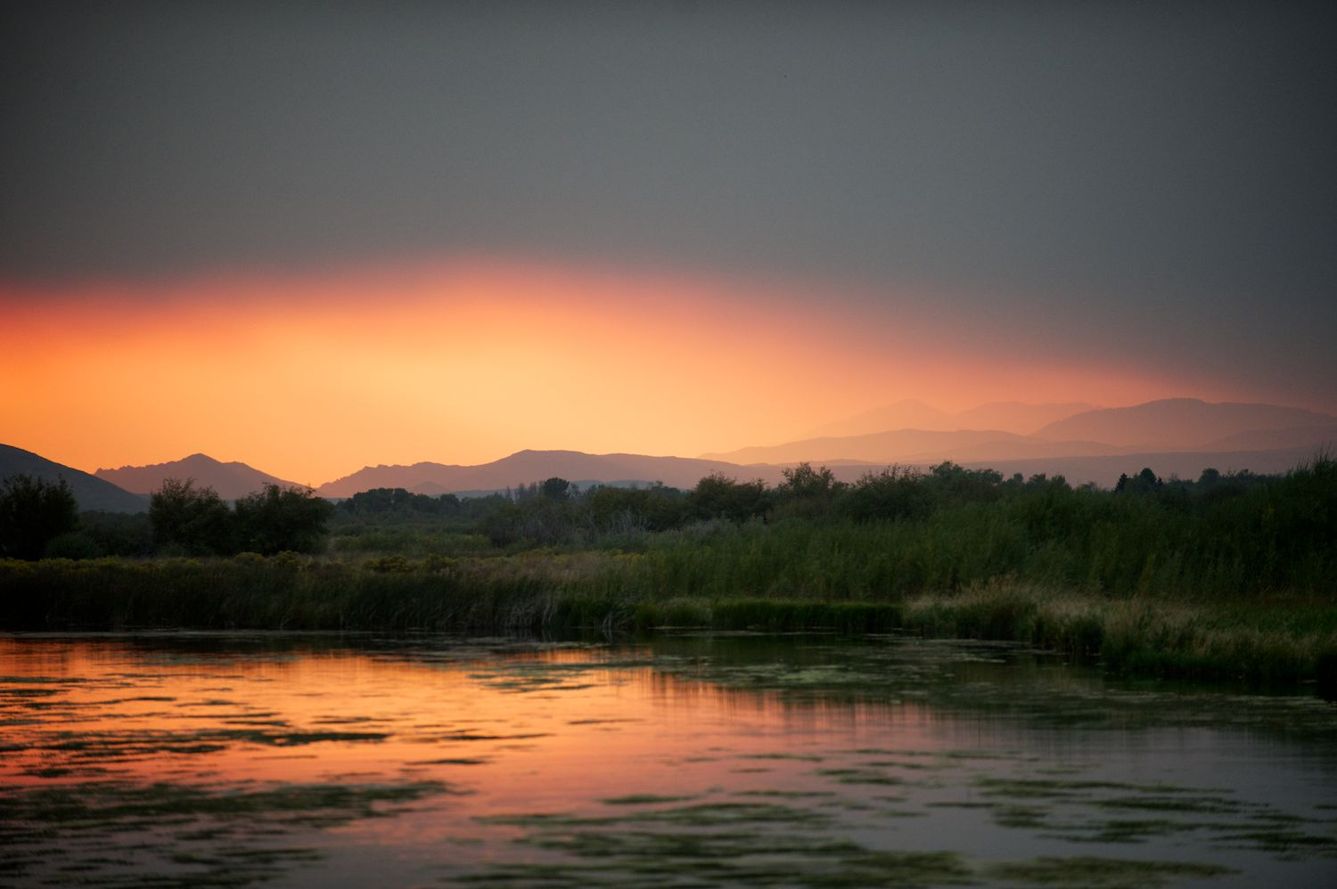 Silver Creek and a smoky sunset.