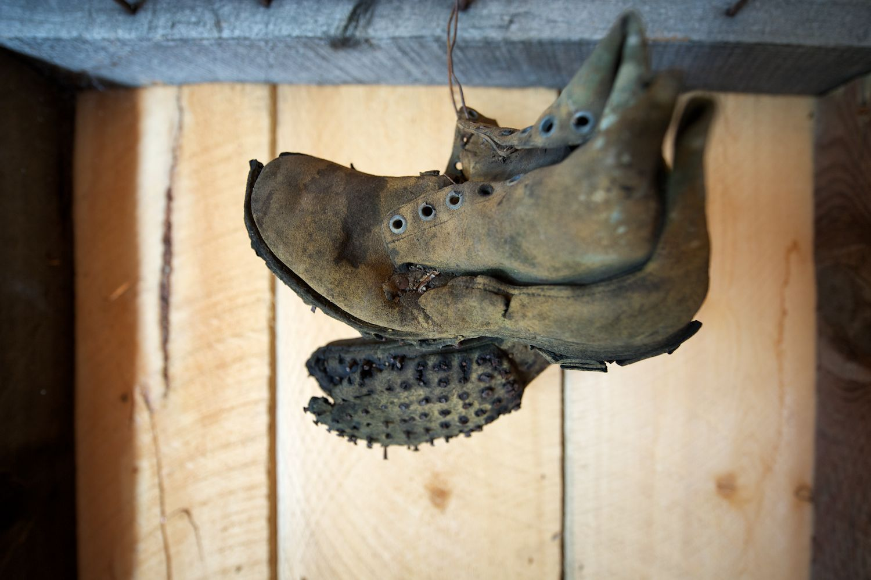 Old Boots. Abandoned Cabin. Mackay, Idaho.