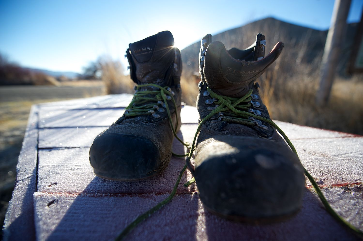 Frozen boots and a late fall frost. Silver Creek Preserve, Idaho.