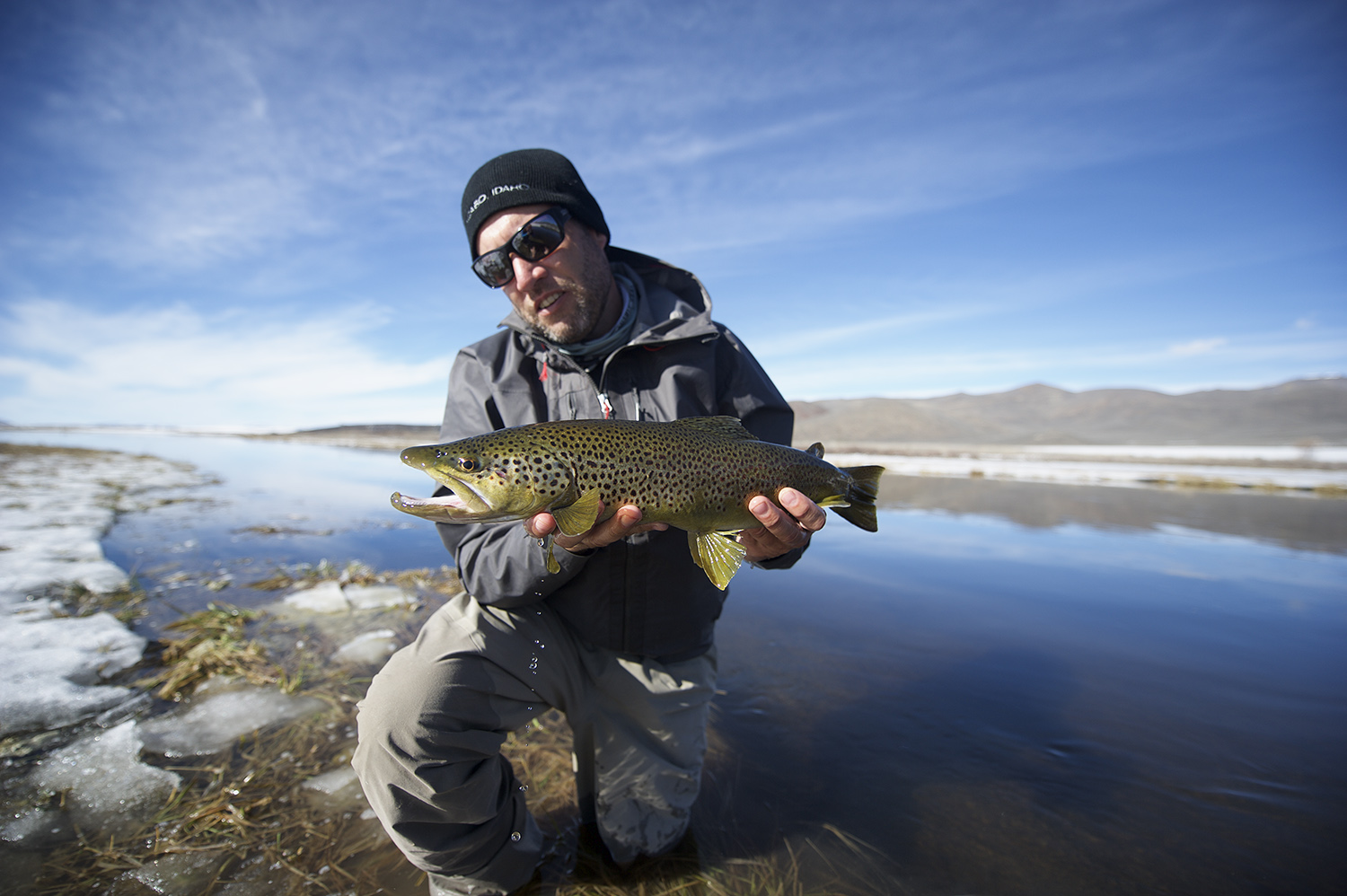 John Huber holds a winter Silver Creek Brown Trout