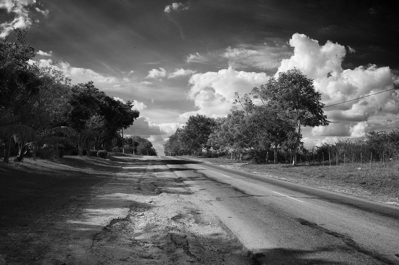 cuba bside road country bw.jpg