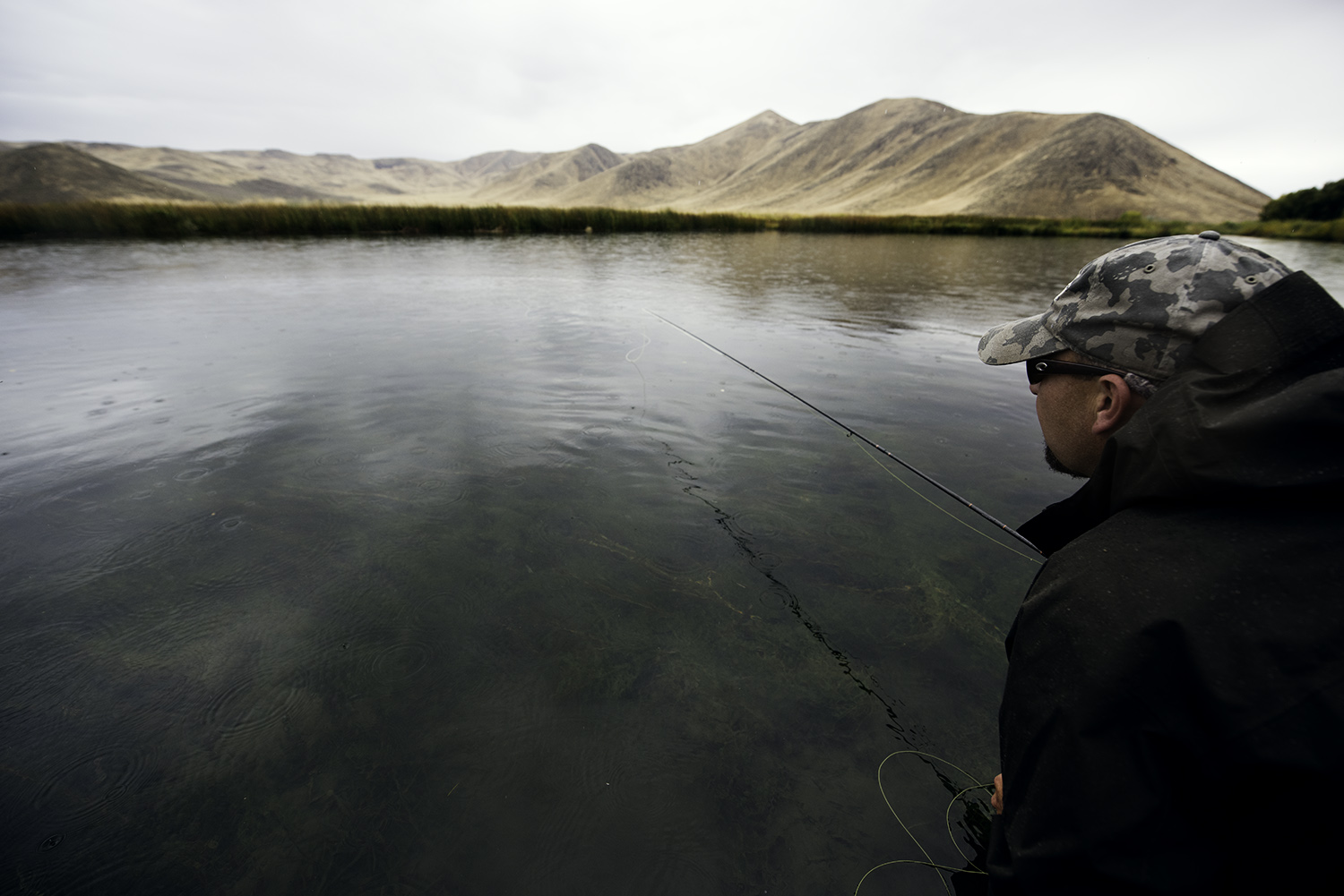 Chad Chorney trying to cull the risers and put his callibaetis in the right lane. Silver Creek, Idaho.