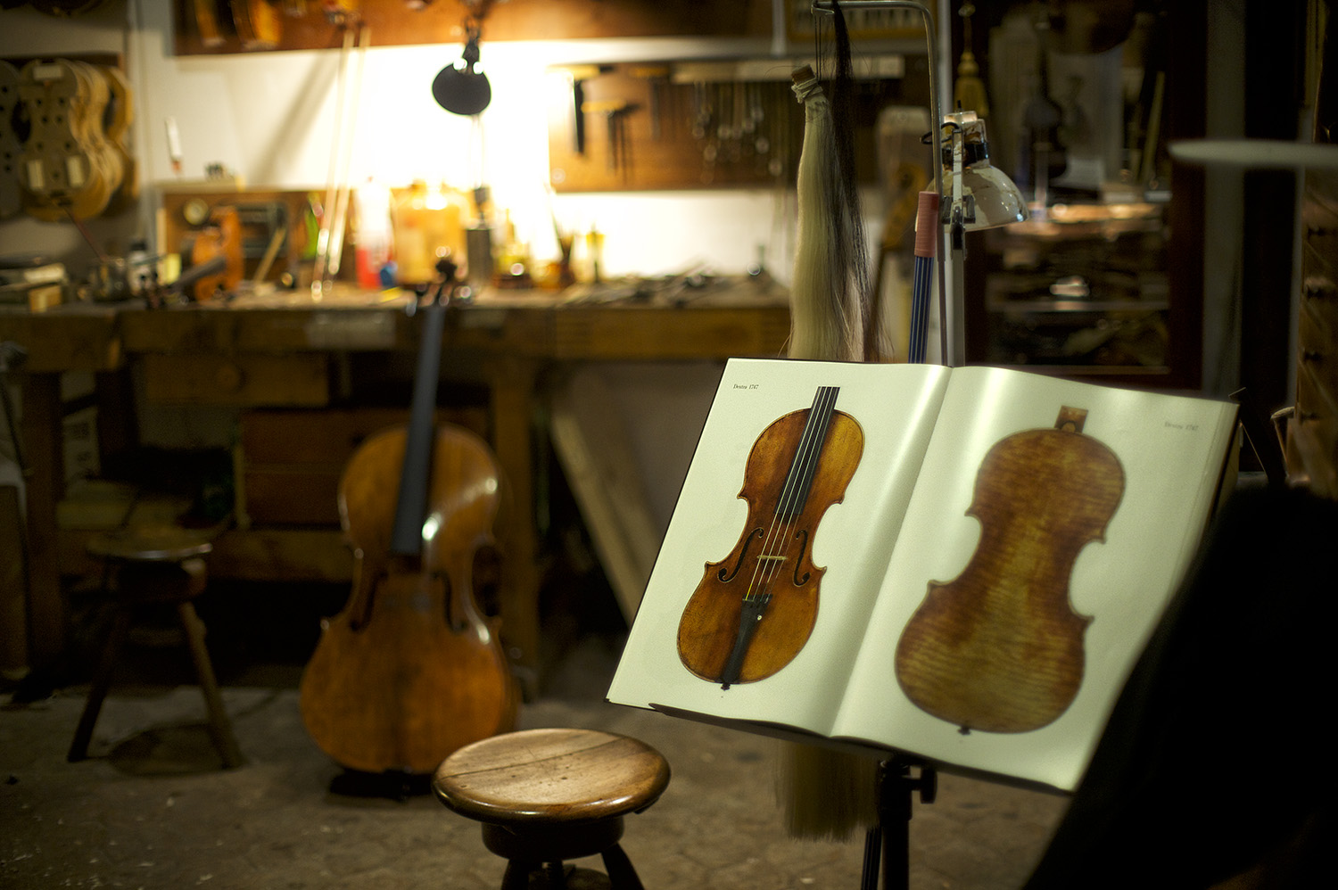 Wooden string instrument shop. Rome, Italy.