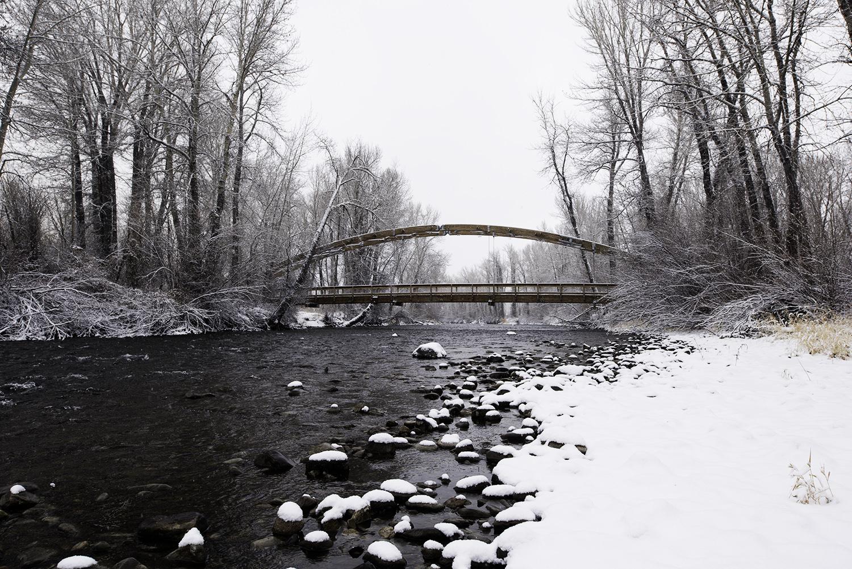 Bow Bridge. Big Wood River. Hailey, Idaho. Wood River Land Trust's Draper Preserve.