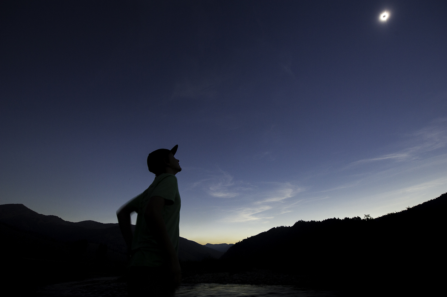 """Charlie Price enjoys the brief """"totality"""" north of Ketchum, Idaho."""