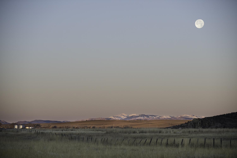 Moonset. Picabo, Idaho.