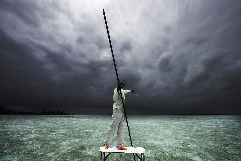 Inbound squall. Mangrove Cay, Bahamas.