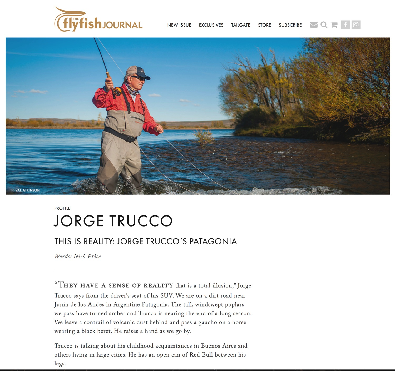 Feature story, words and some images, on Jorge Trucco. The FlyFish Journal. Summer 2019