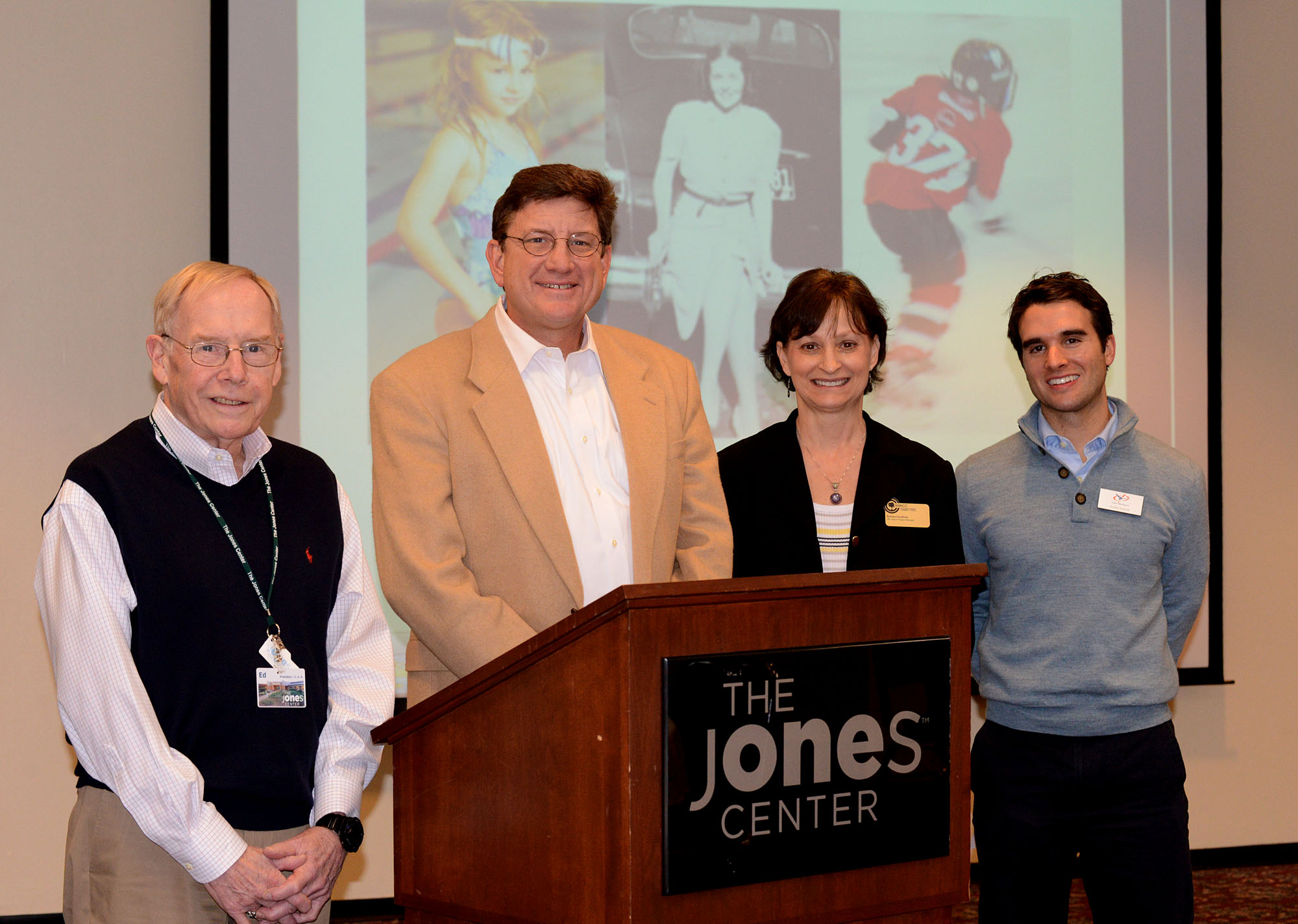 Ed Clifford of The Jones Center; Mike Fohner of Youth Strategies; Barbara Goodman of NWACC and Alden Napier of Camp War Eagle