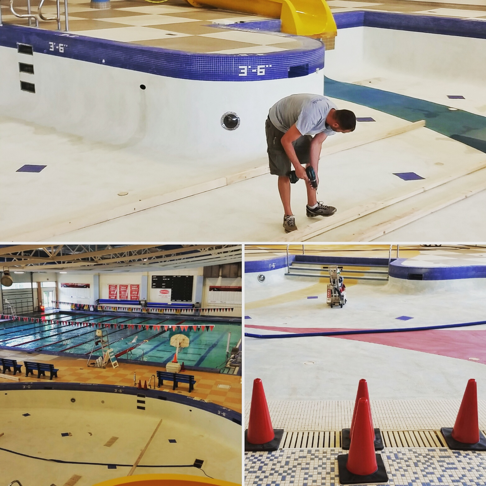 This is what the leisure pool currently looks like. Resurfacing the bottom requires us to drain the whole pool. That's a lot of water!