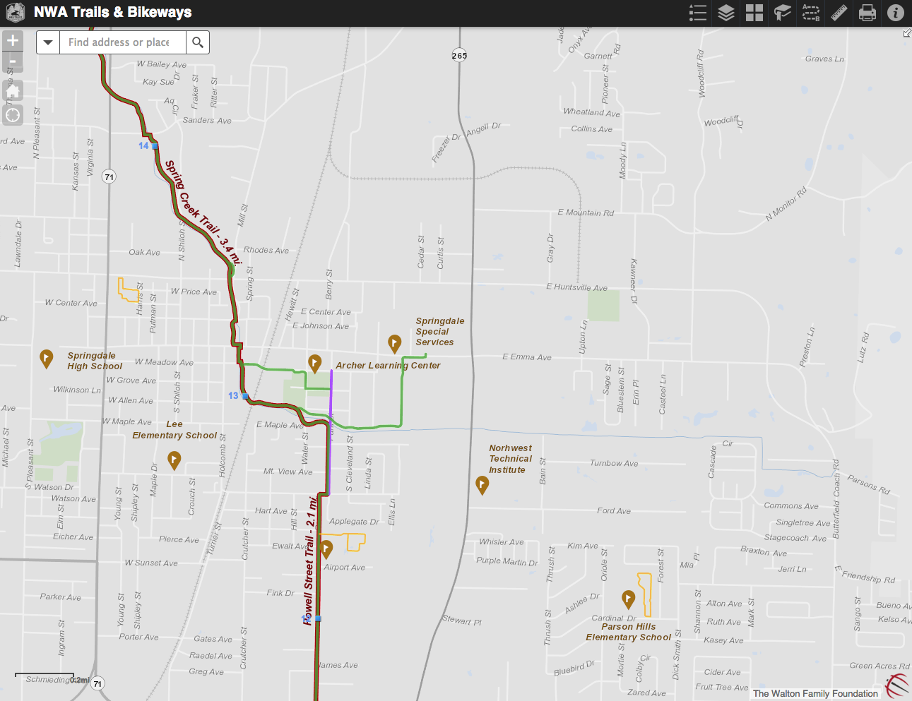 Click to view an updated map of the entire Razorback Greenway.
