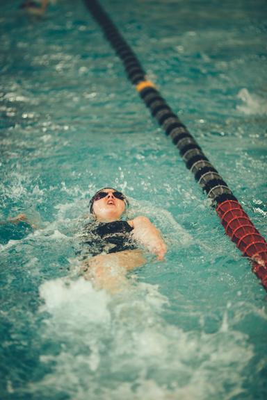 Swim laps in our junior-Olympic sized lap pool.