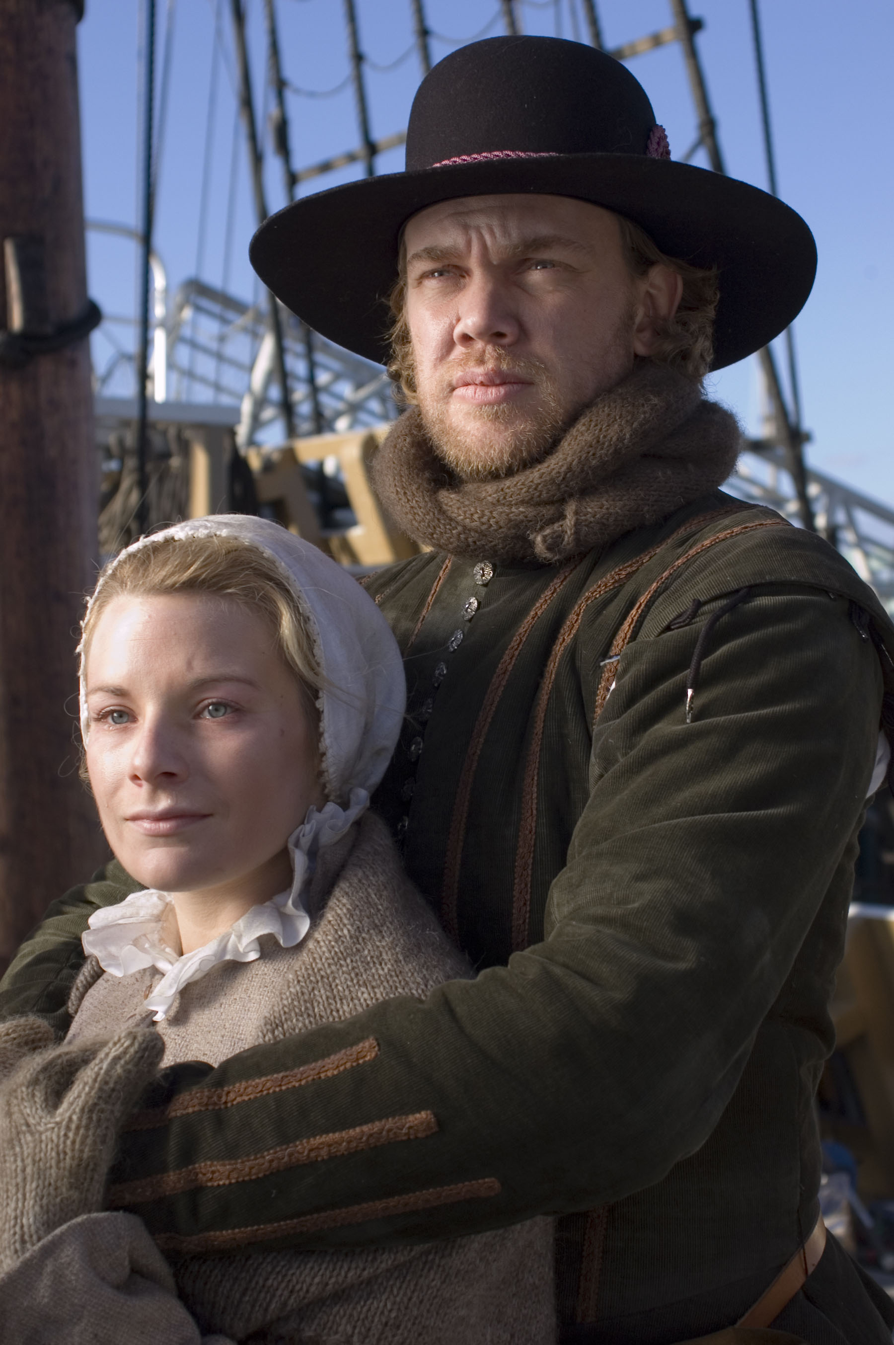 """William and Dorothy (May) Bradford, as portrayed by the History Channel's documentary """" Desperate Crossing ."""" Promotional image courtesy of Lone Wolf Documentary Group."""