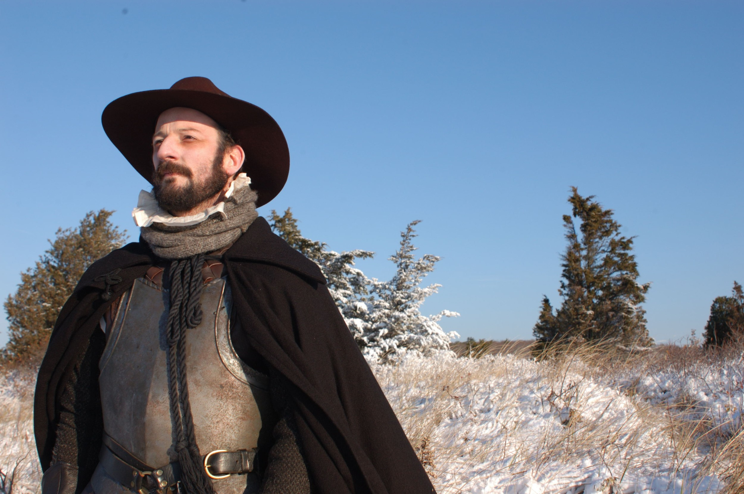 """Christopher Martin exploring on Cape Cod in December 1621, as portrayed on the History Channel's """"Desperate Crossing."""" Promotional image courtesy of Lone Wolf Documentary Group."""