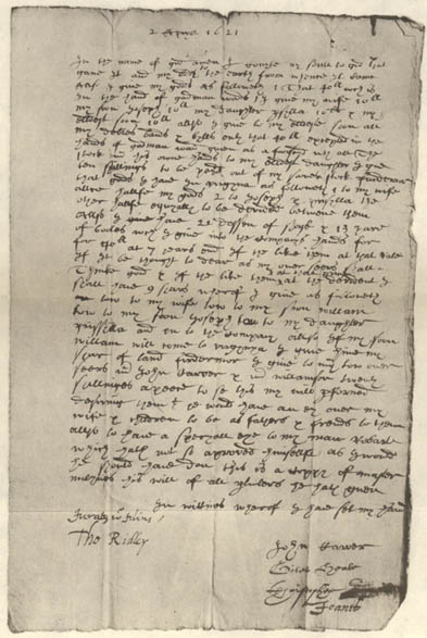 The 1621 will of William Mullins: the only surviving will from someone who died the first winter at Plymouth. It is signed by Governor John Carver,  Mayflower  master Christopher Jones, and  Mayflower  surgeon Giles Heale. It was sailed back to England in April 1621 onboard the  Mayflower  and was probated in Mullins home parish of Dorking, co. Surrey, administered by his adult daughter Sarah (Mullins) Blunden, who was still living in Dorking.