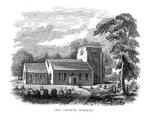 This is the Old Hursley church in Hursley, Hampshire, where Stephen and Mary Hopkins baptized their children Elizabeth, Constance, and Giles.  The church was completely rebuilt in 1848, so no longer looks like this today.