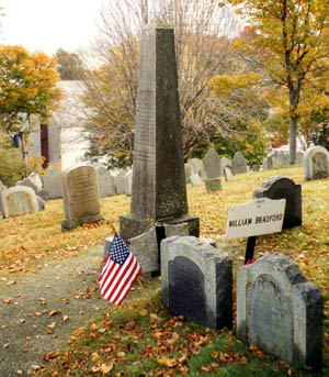 The Bradford family plot on Burial Hill in Plymouth, where William Bradford and other family members are buried.