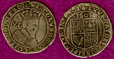 Silver King James shillings, dated 1603.  This is the type of money the investors in the Plymouth joint-stock company were hoping to earn!  A single share of Plymouth company stock would have cost 200 of these shillings.  More likely they would have paid for shares using 10 gold Unite coins instead (below).