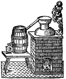 A distiller, illustrated in Gervase Markham's  Countrey Farme  (1616), a book that was owned by  Mayflower  passenger Myles Standish.