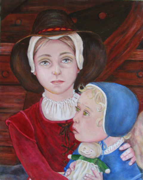 """""""Pilgrims Ellen and Mary More,"""" a painting courtesy of  Ruth DeWilde Major ."""