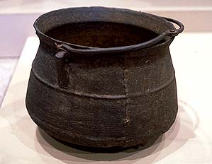Iron cooking pot believed to have been owned by Myles Standish.  On display at the  Pilgrim Hall Museum .