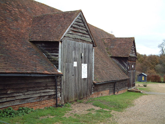 "The ""Mayflower Barn"" in Jordans, England.  This barn was identified in the 1920s as having been made from the remnants of the  Mayflower .  The evidence is entirely unconvincing, but that has not stopped it from becoming a tourist attraction nonetheless.  Image courtesy of Wikipedia Commons."