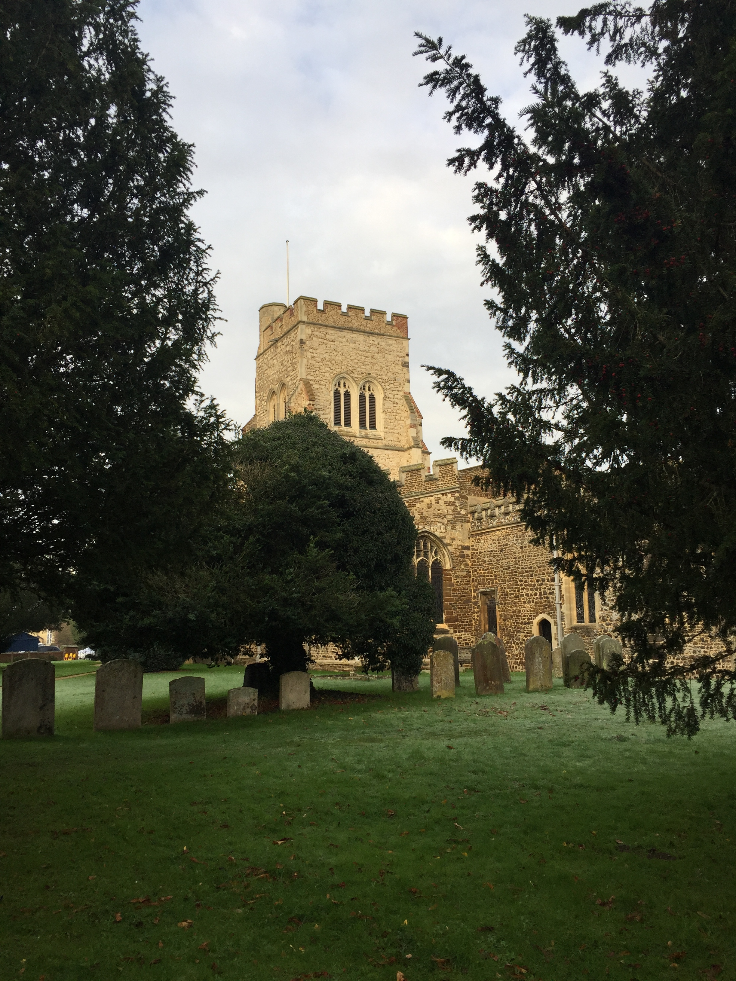 The parish church of Henlow, Bedfordshire, where Agnes Cooper was baptized in 1585 and married in 1614.