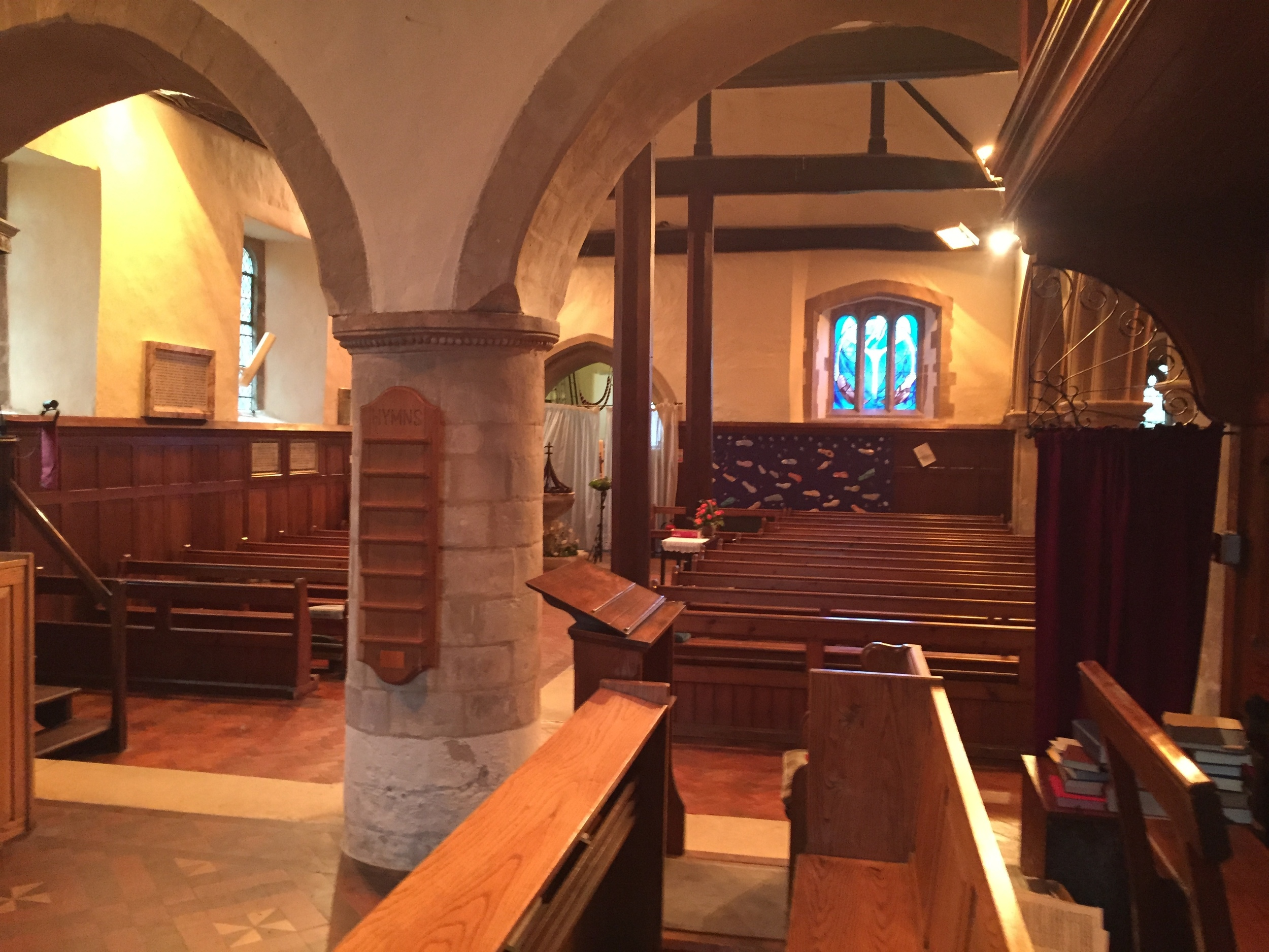 The interior of the church at Upper Clatford, Hampshire, where Stephen Hopkins was baptized in 1581.