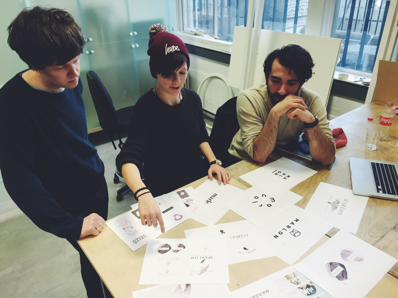The team working on some branding development