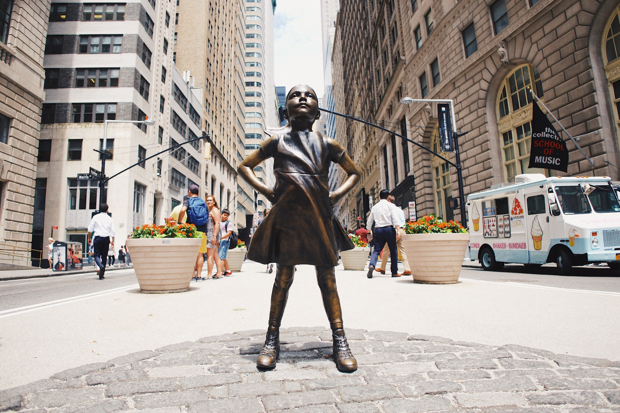 Fearless Girl - Standing opposite the Charging Bull statue is one of the Fearless Girl. A moving statement of the power women in leadership have and the impact they have on society. Definitely less crowded and more interesting than the bull!