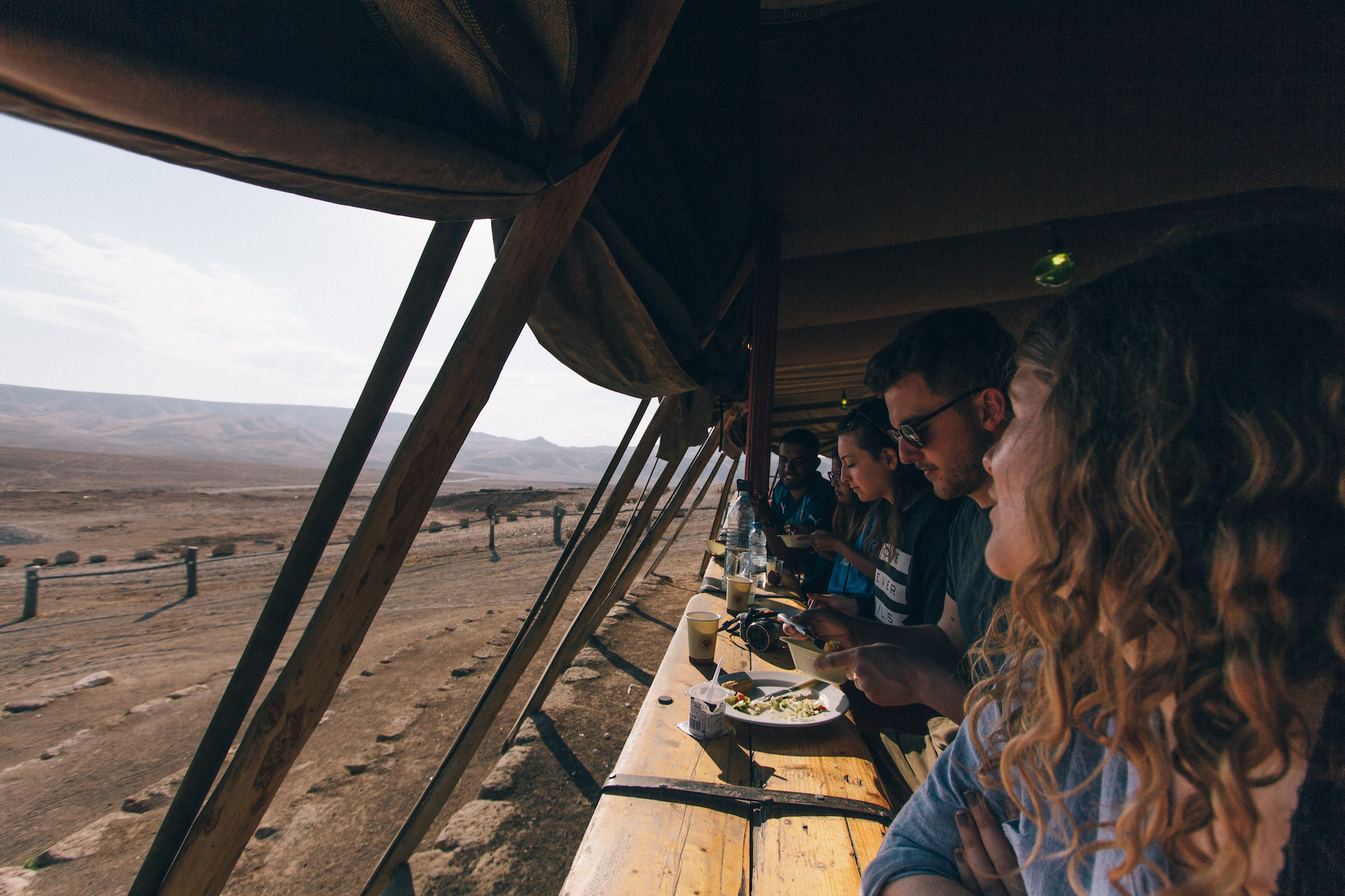Kfar Hanokdim - Whilst in the desert we spend the night in some beduin tents at Kfar Hanokdim. If you can stay there, do it, because coming back for breakfast after the sunrise at Masada and eating with views like this is incredible.