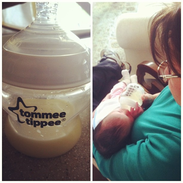 Her first bottle.