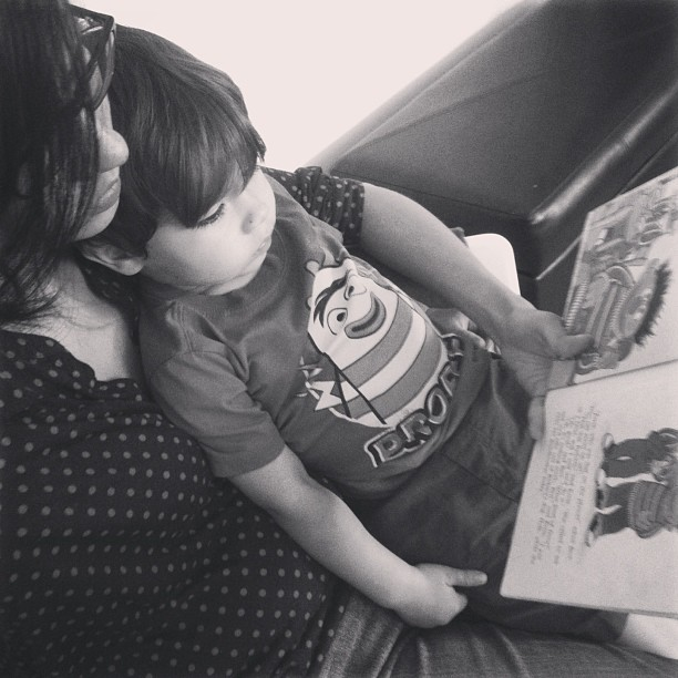 Reading with mama.