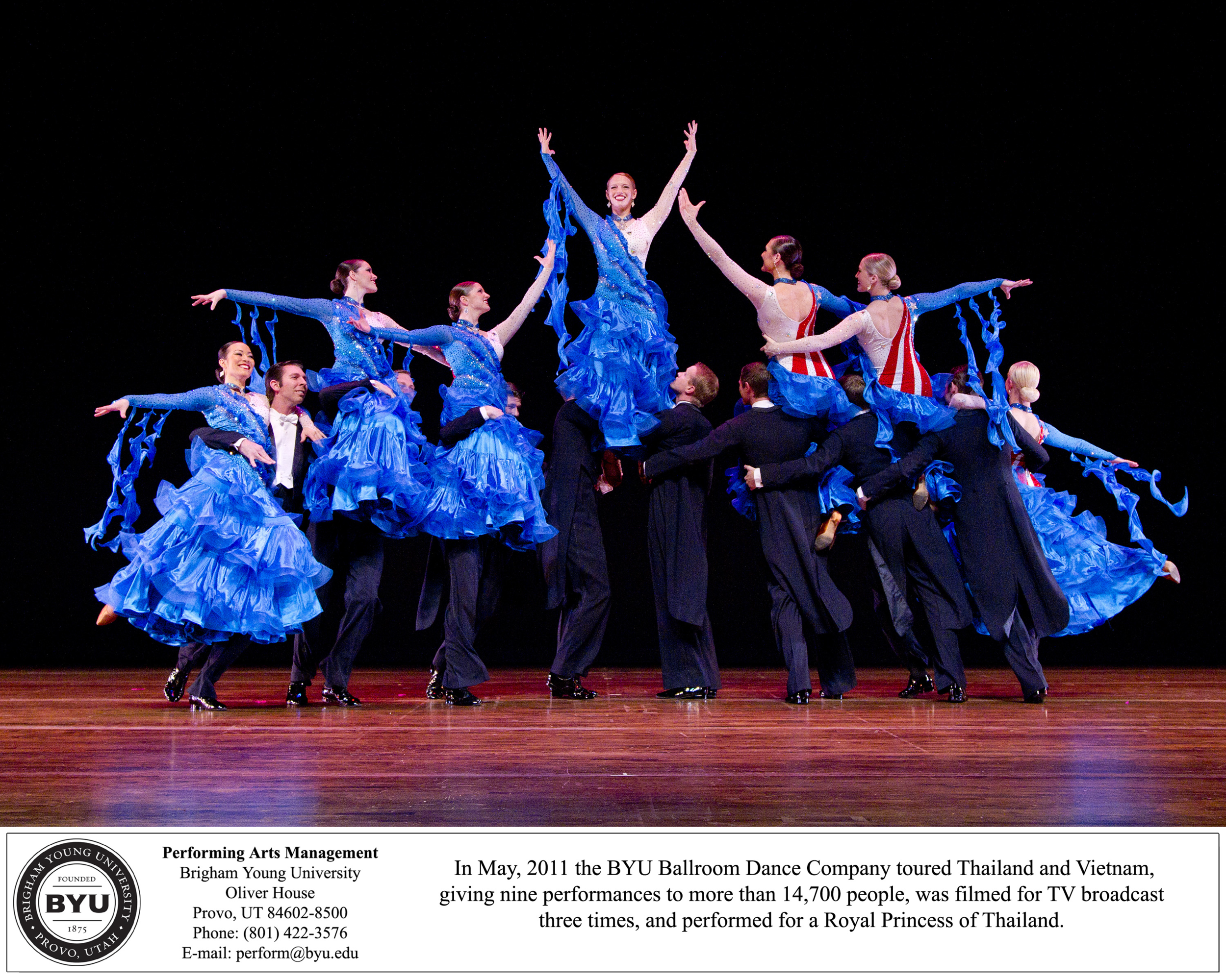 In 2010, the BYU Ballroom Dance Company performed their ballroom medley, Americana, at the British Formation Team Championships in Blackpool, England.