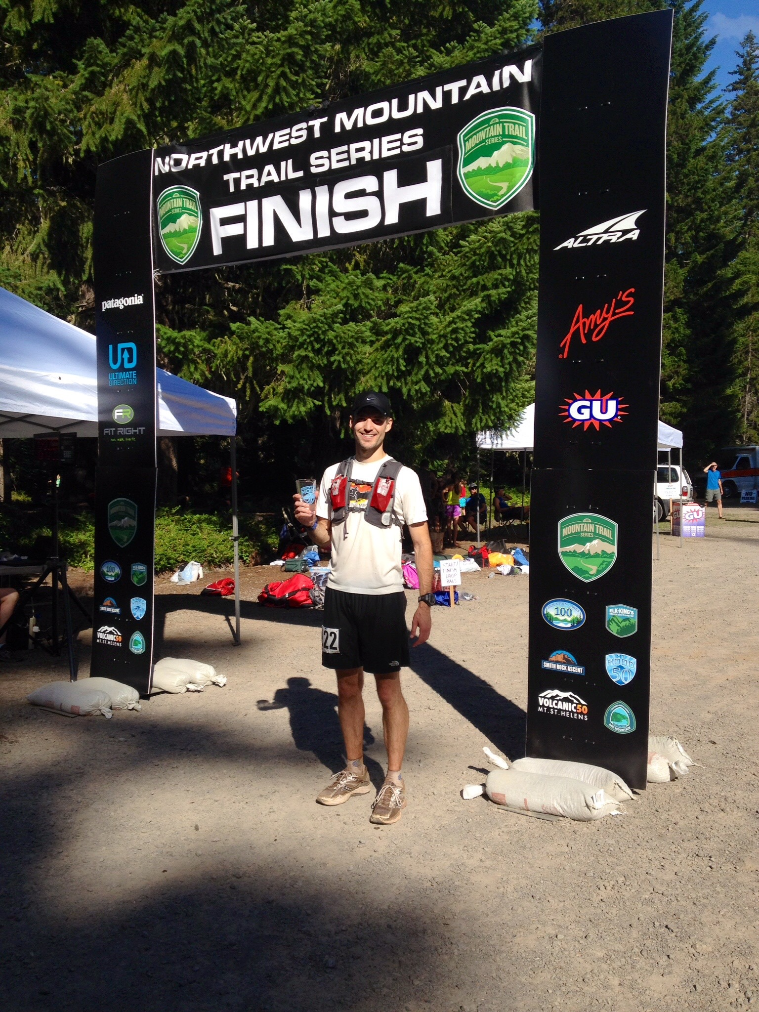 Dr. Cashion at the finish line of the  Mt. Hood 50  mile ultra-marathon.