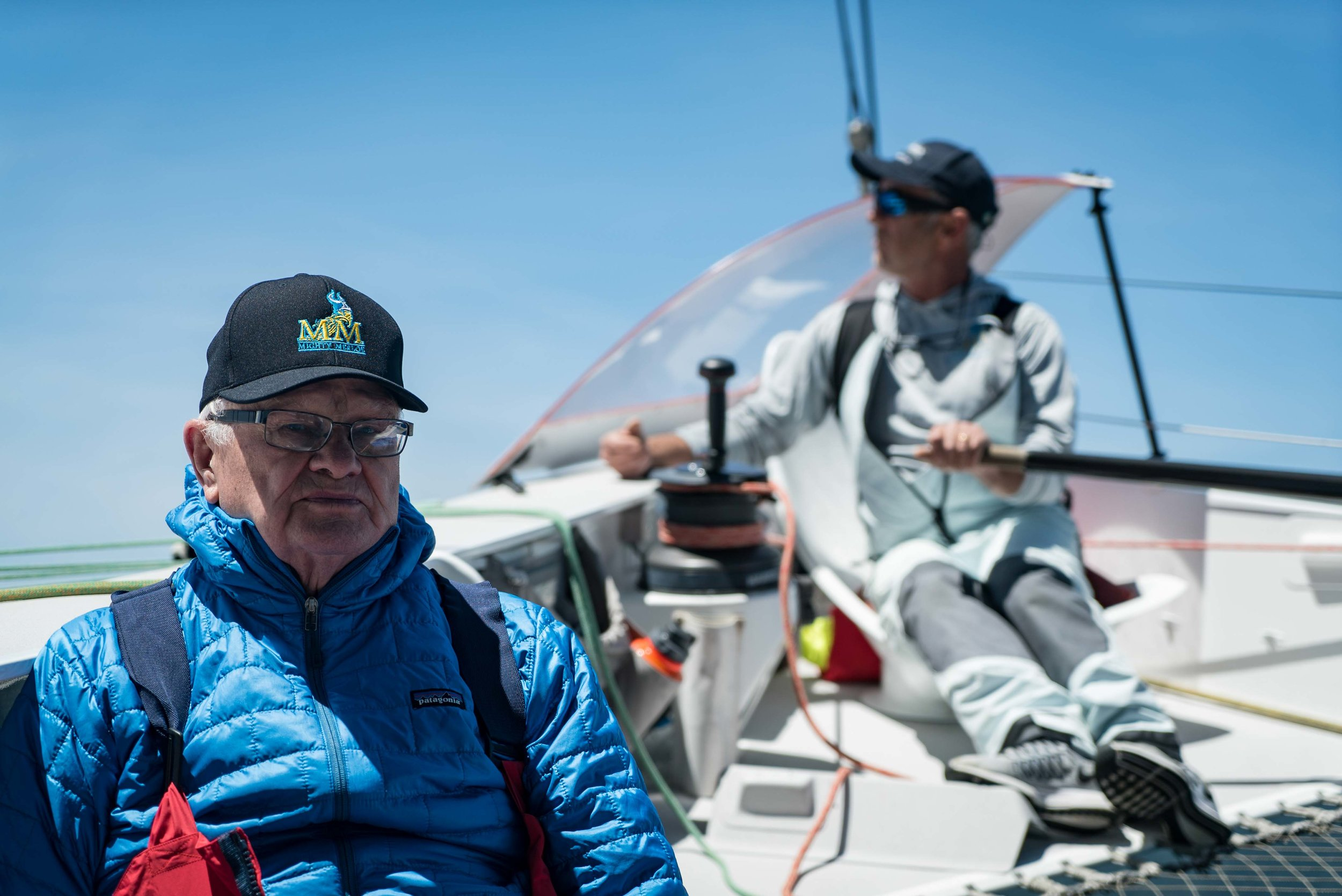 H.L. Enloe and Loick Peyron aboard the ORMA 60 Mighty Merloe.