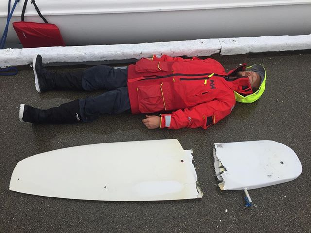 @givinthehorns safely ashore in Bella Bella. So many people here knew about our situation before we even arrived and have offered to help us. @capnpotter lies next to our fallen comrade. We intend to find a solution and finish @racetoalaska