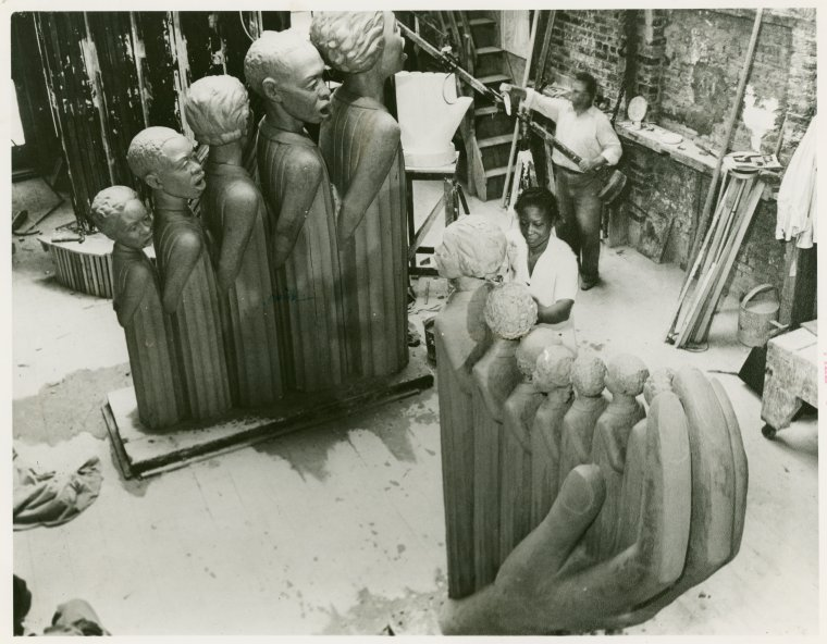 Augusta Savage in her studio.